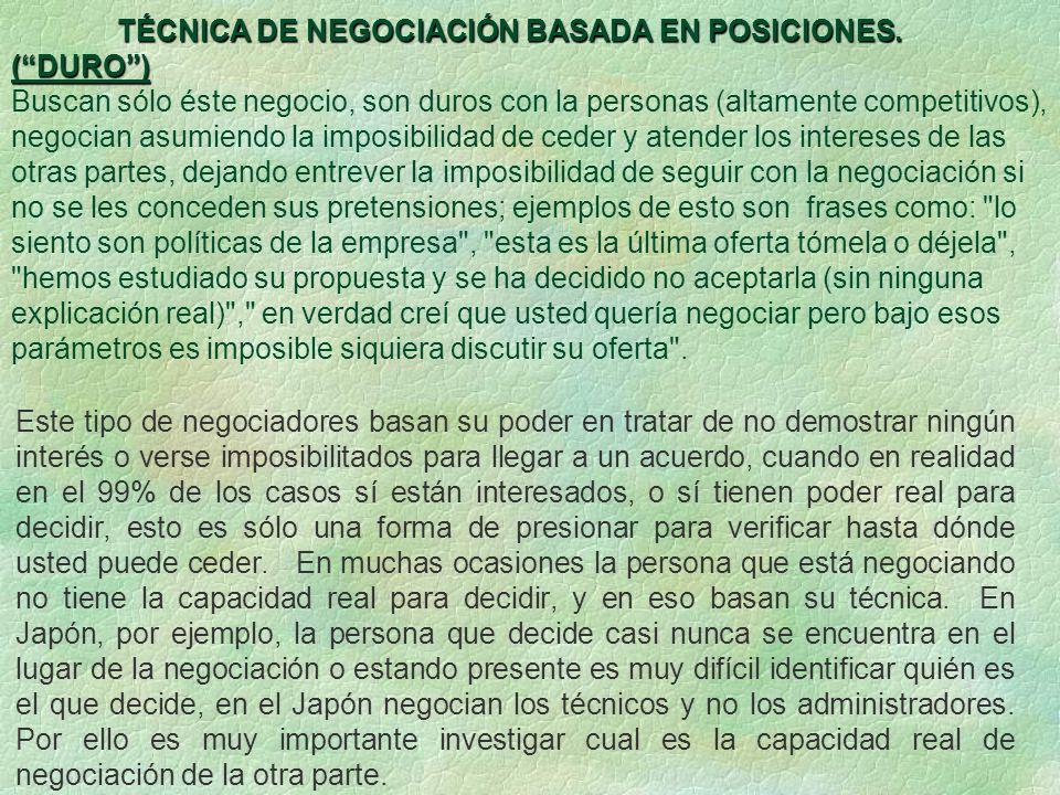 TÉCNICA DE NEGOCIACIÓN BASADA EN POSICIONES