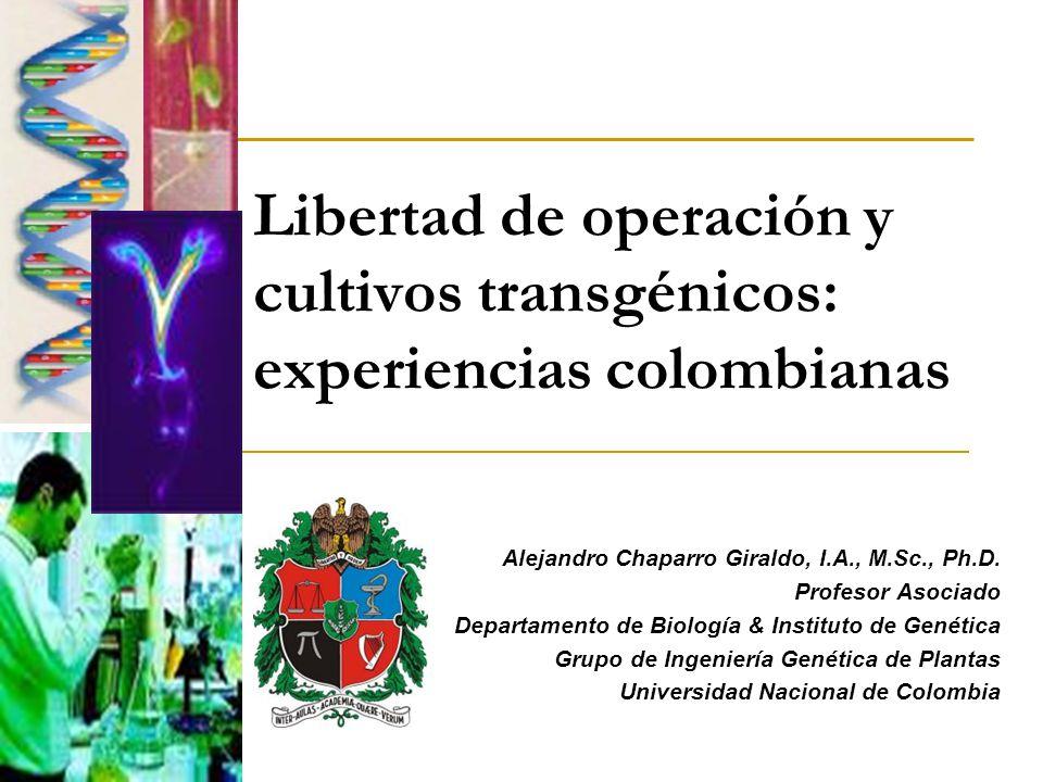 Libertad de operación y cultivos transgénicos: experiencias colombianas