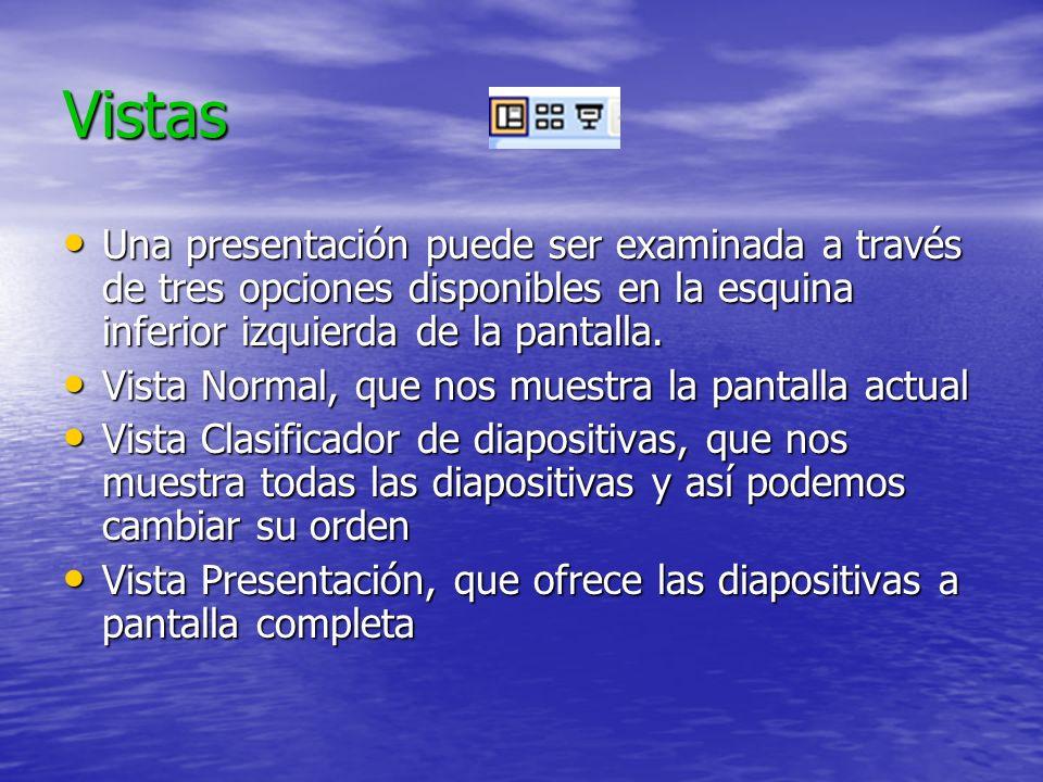 VistasUna presentación puede ser examinada a través de tres opciones disponibles en la esquina inferior izquierda de la pantalla.