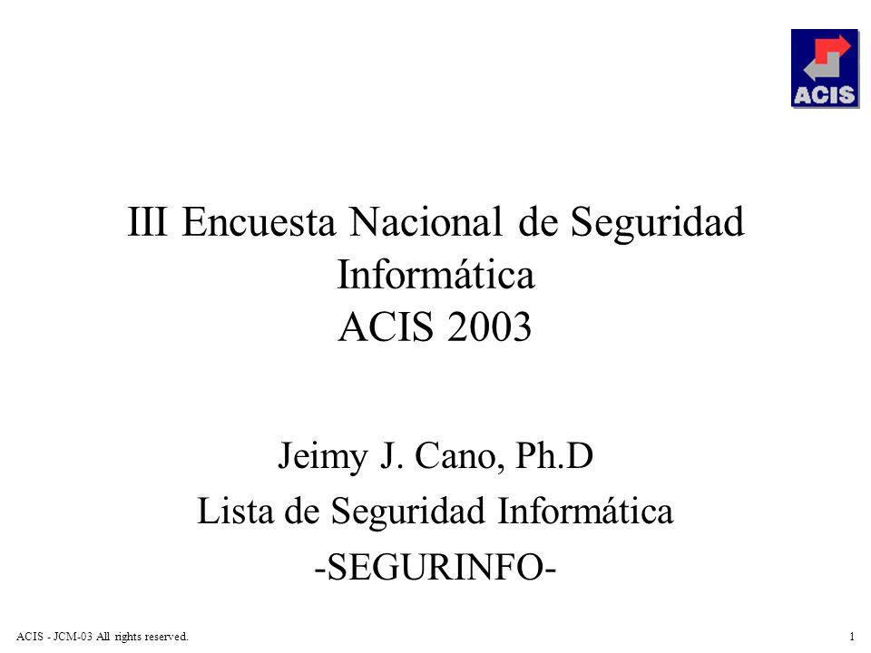 III Encuesta Nacional de Seguridad Informática ACIS 2003