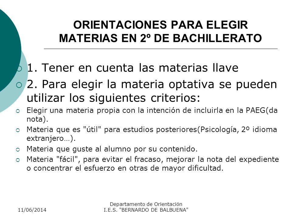 ORIENTACIONES PARA ELEGIR MATERIAS EN 2º DE BACHILLERATO