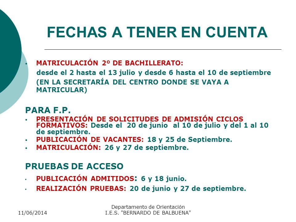 FECHAS A TENER EN CUENTA