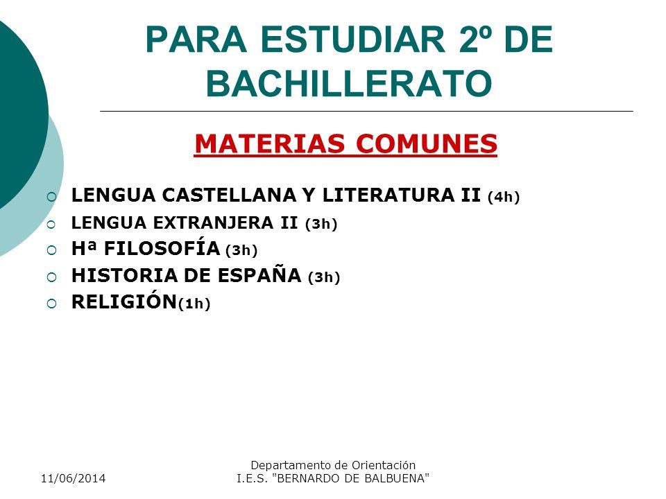 PARA ESTUDIAR 2º DE BACHILLERATO