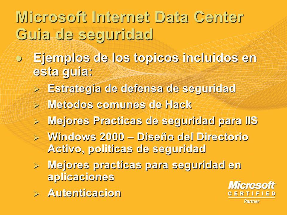 Microsoft Internet Data Center Guia de seguridad