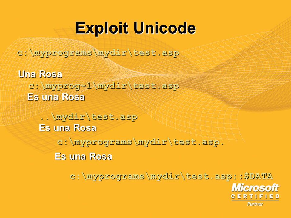 Exploit Unicode c:\myprograms\mydir\test.asp Una Rosa