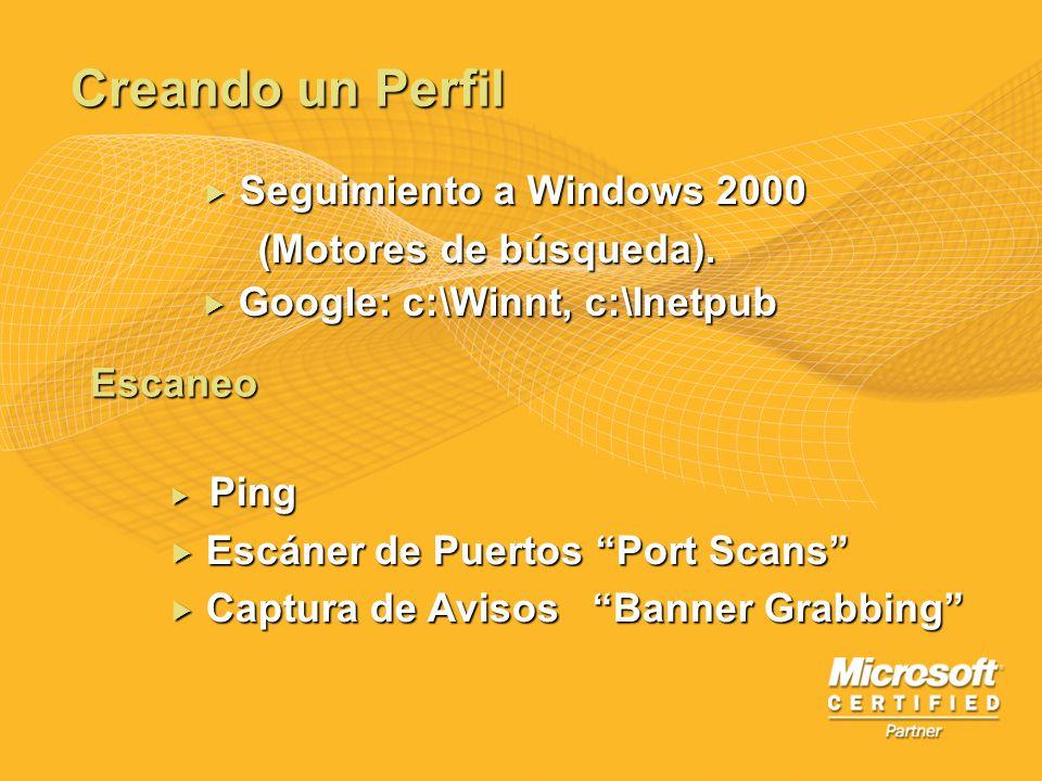 Creando un Perfil Seguimiento a Windows 2000 (Motores de búsqueda).