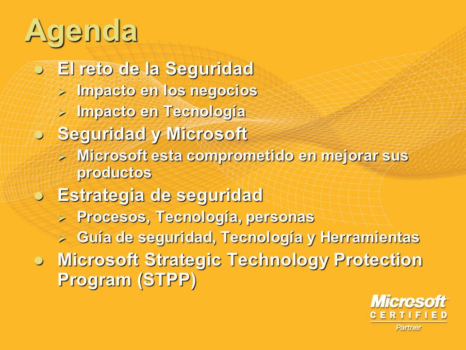 Agenda El reto de la Seguridad Seguridad y Microsoft