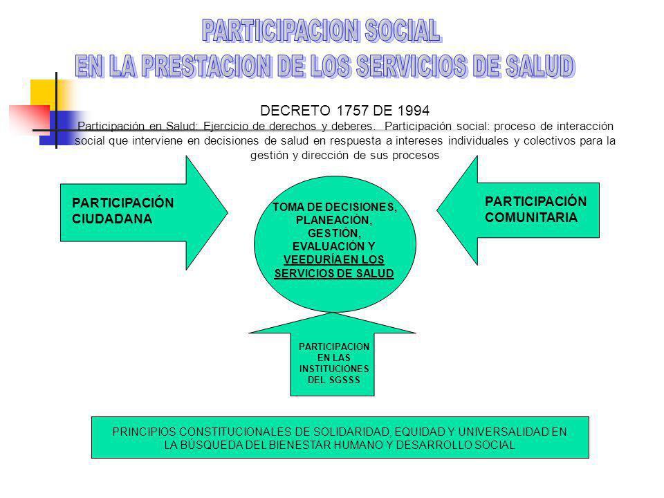 PARTICIPACION EN LAS INSTITUCIONES DEL SGSSS