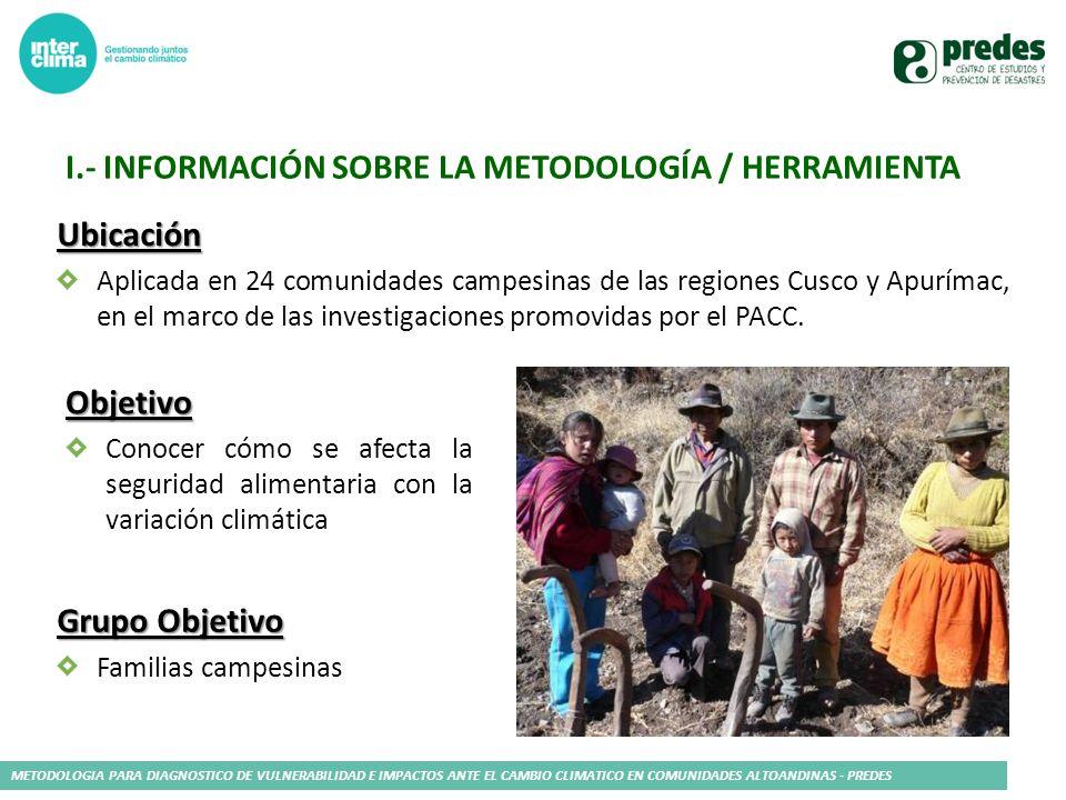 I.- información sobre la metodología / herramienta