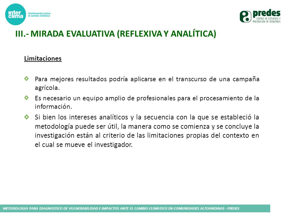 Iii.- Mirada evaluativa (reflexiva y analítica)