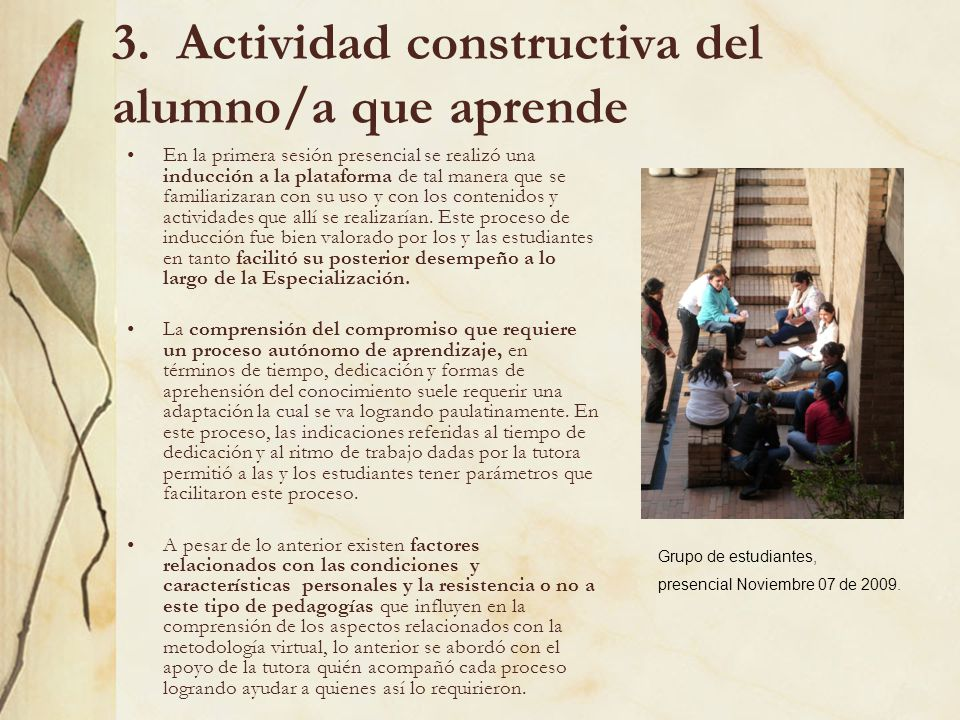 3. Actividad constructiva del alumno/a que aprende