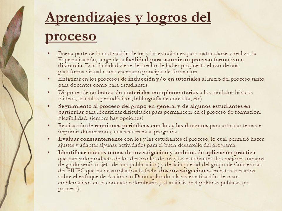 Aprendizajes y logros del proceso