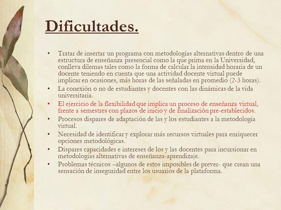 Dificultades.