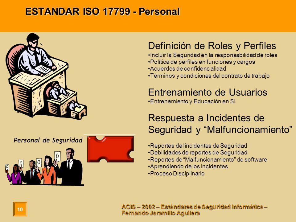 ESTANDAR ISO 17799 - Personal