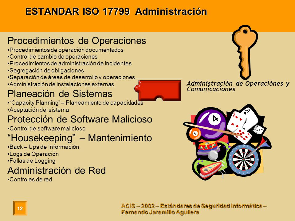ESTANDAR ISO 17799 Administración