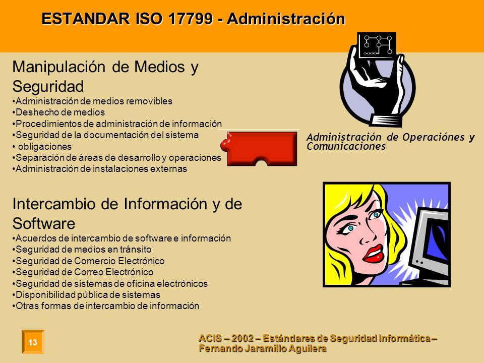 ESTANDAR ISO 17799 - Administración