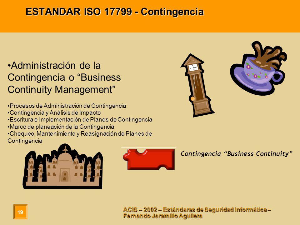 ESTANDAR ISO 17799 - Contingencia