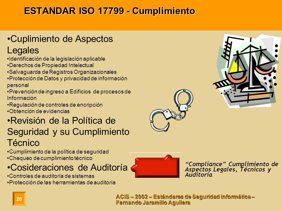 ESTANDAR ISO 17799 - Cumplimiento