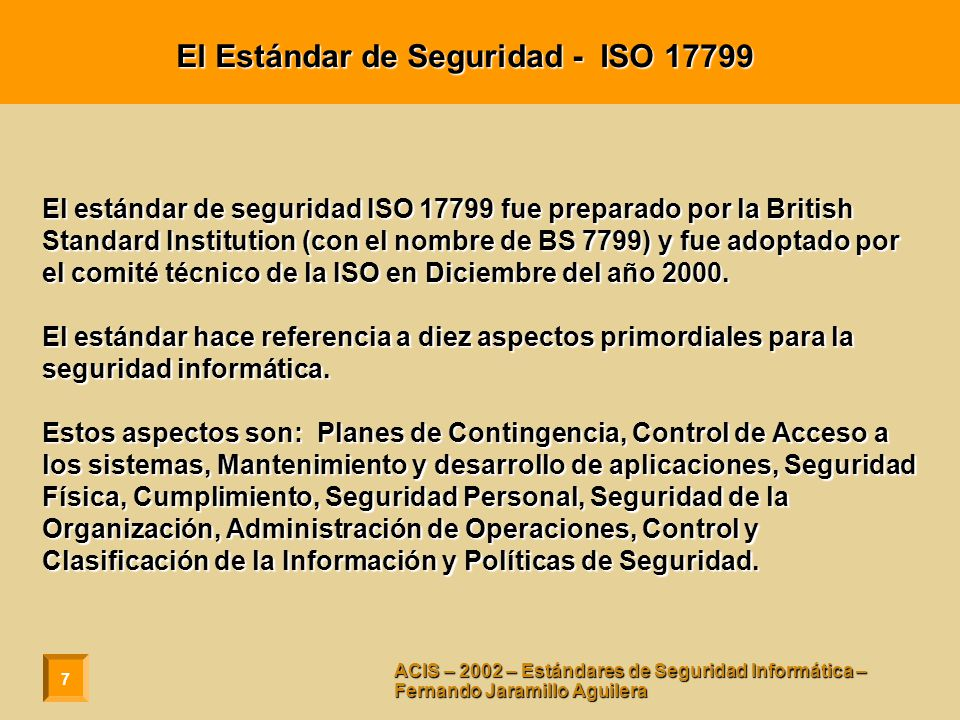El Estándar de Seguridad - ISO 17799