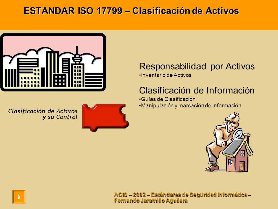 ESTANDAR ISO 17799 – Clasificación de Activos