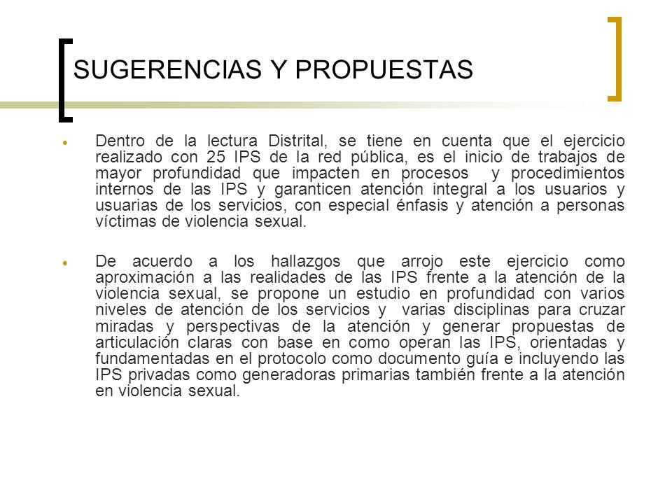SUGERENCIAS Y PROPUESTAS