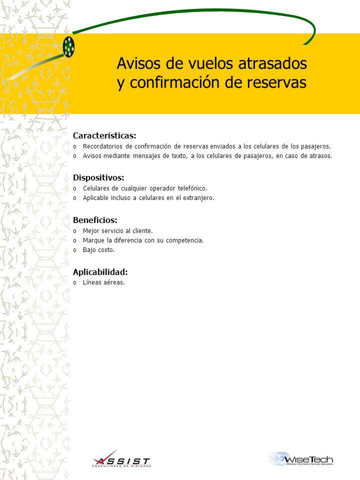 Avisos de vuelos atrasados y confirmación de reservas