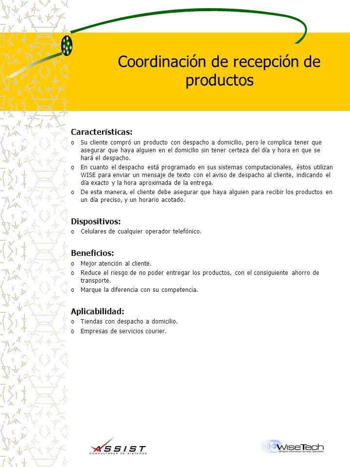 Coordinación de recepción de productos