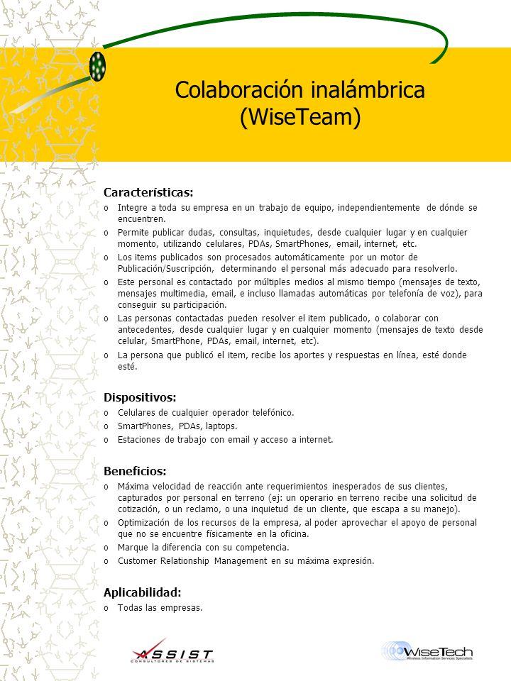 Colaboración inalámbrica (WiseTeam)