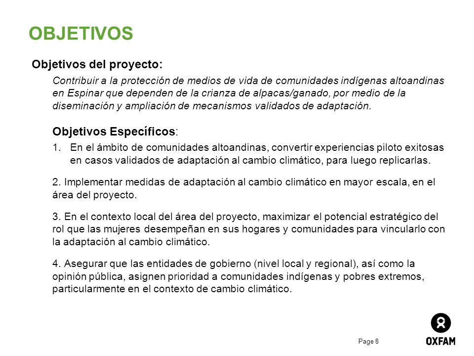 OBJETIVOS Objetivos del proyecto: Objetivos Específicos: