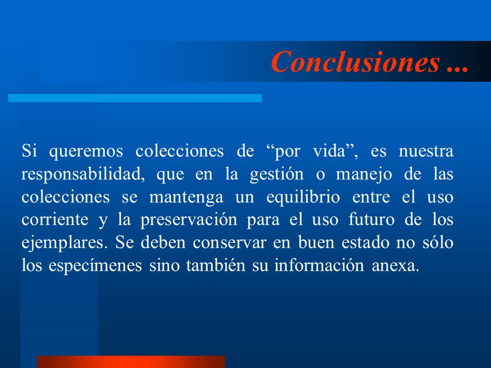 Conclusiones ...