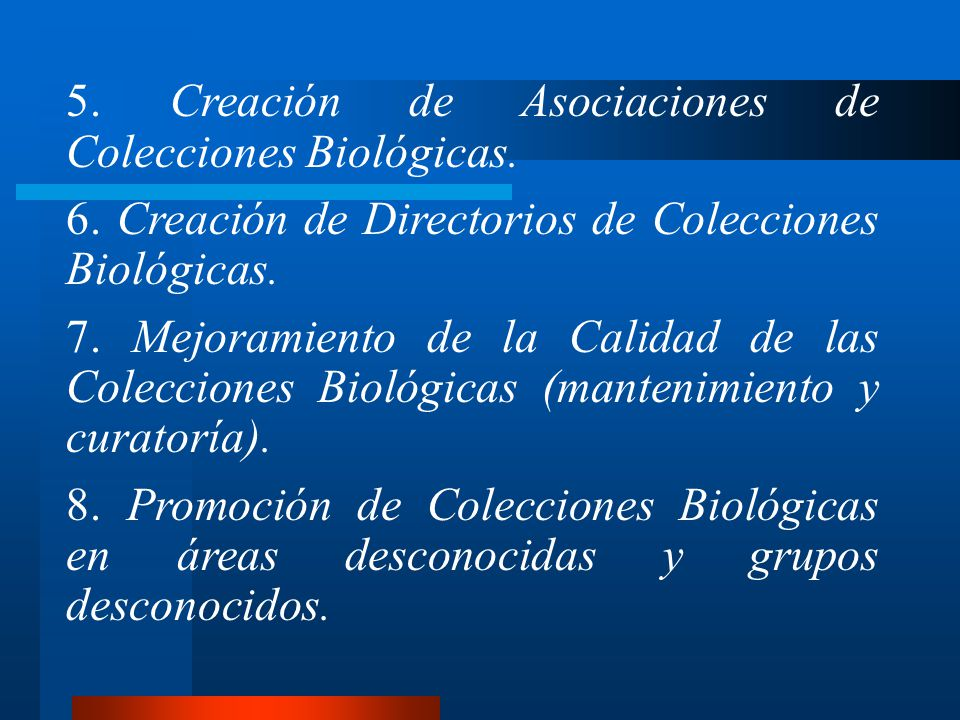 5. Creación de Asociaciones de Colecciones Biológicas.
