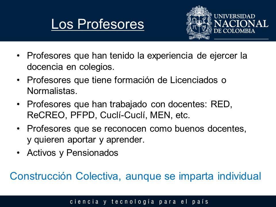 Los Profesores Construcción Colectiva, aunque se imparta individual