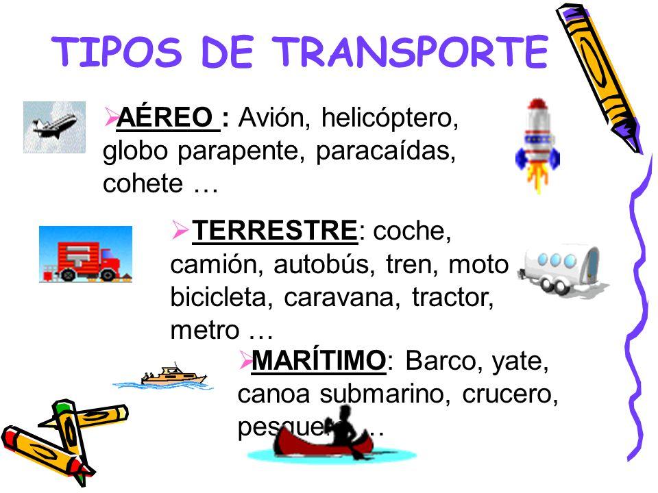 TIPOS DE TRANSPORTE AÉREO : Avión, helicóptero, globo parapente, paracaídas, cohete …