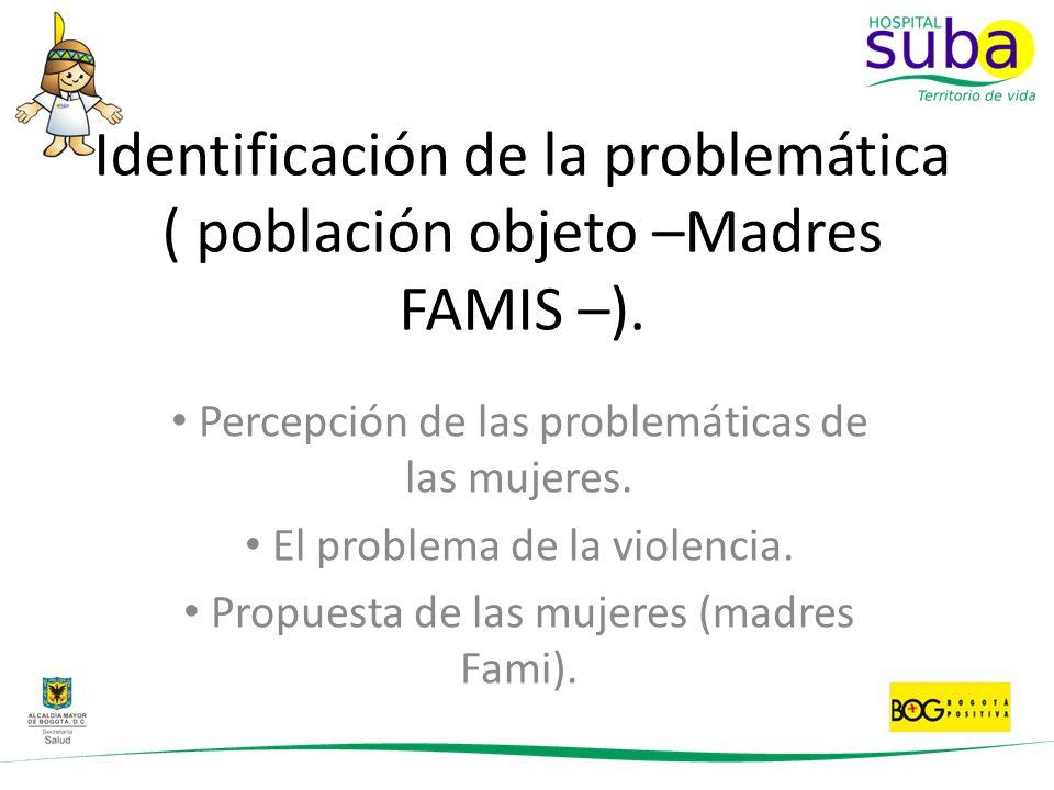 Identificación de la problemática ( población objeto –Madres FAMIS –).