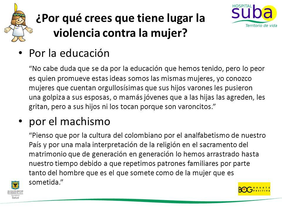 ¿Por qué crees que tiene lugar la violencia contra la mujer