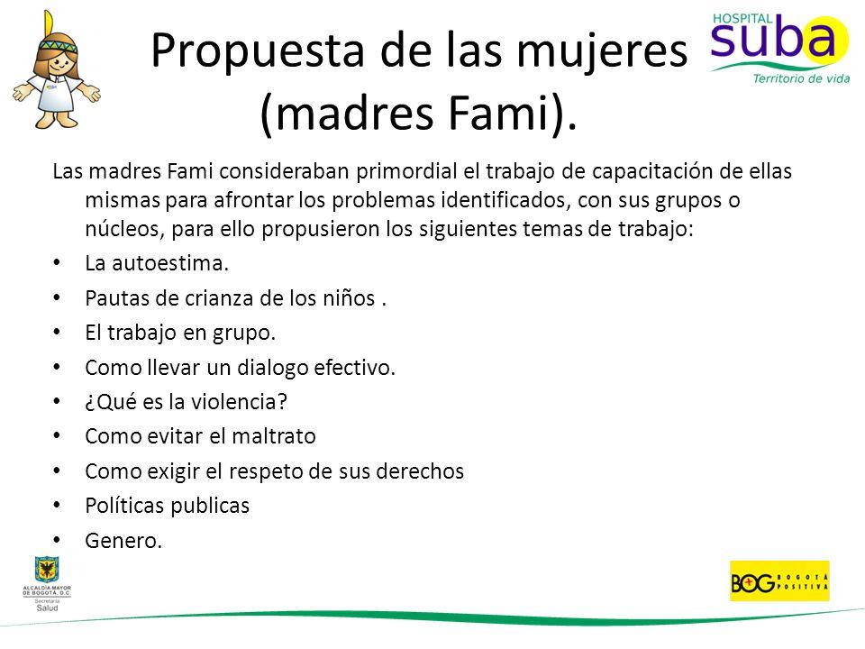 Propuesta de las mujeres (madres Fami).