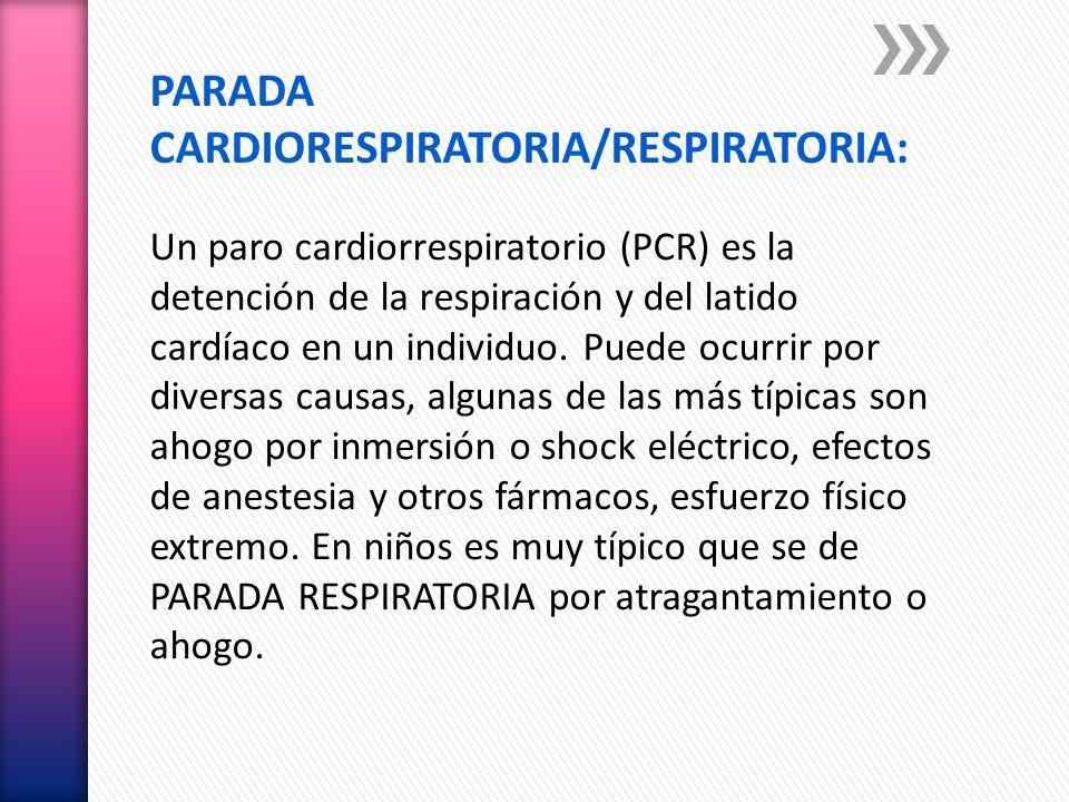 PARADA CARDIORESPIRATORIA/RESPIRATORIA: