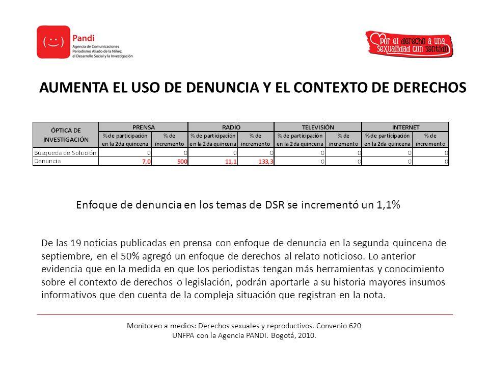 AUMENTA EL USO DE DENUNCIA Y EL CONTEXTO DE DERECHOS