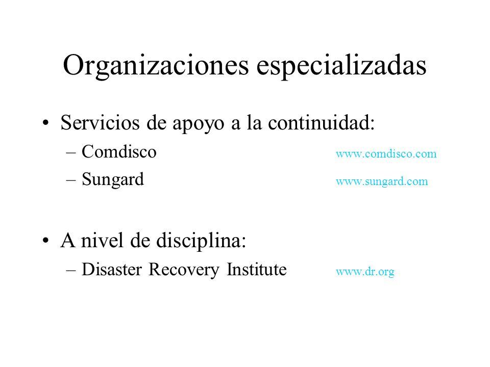 Organizaciones especializadas