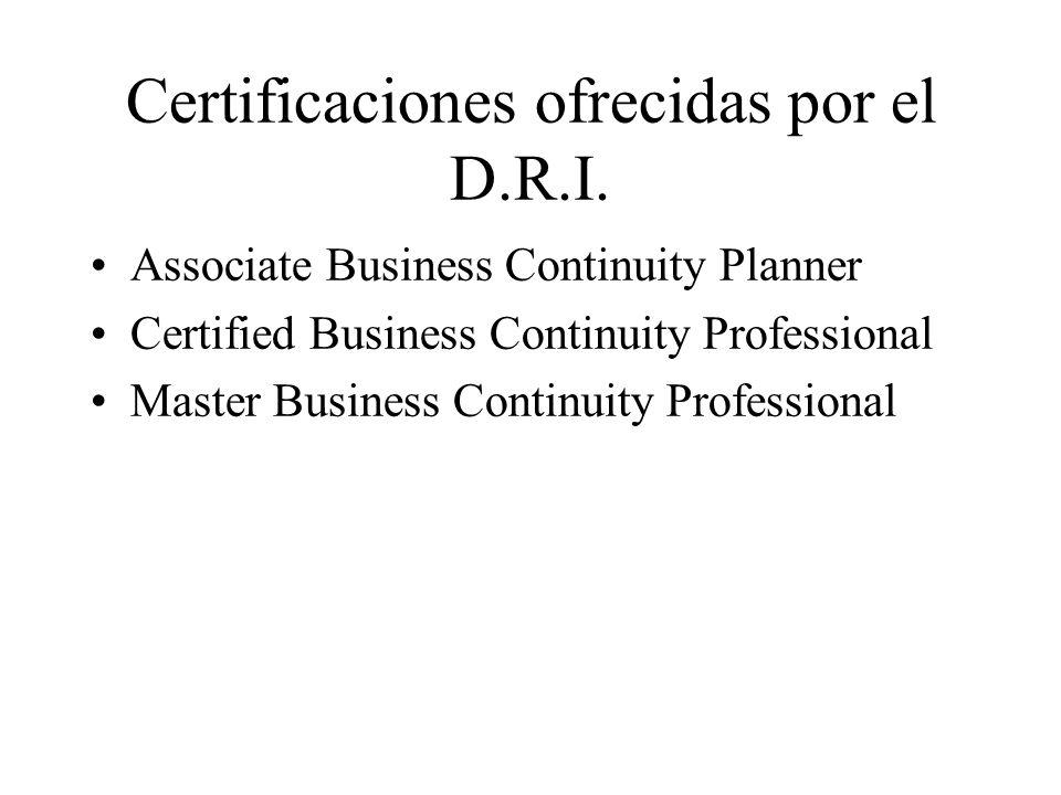 Certificaciones ofrecidas por el D.R.I.