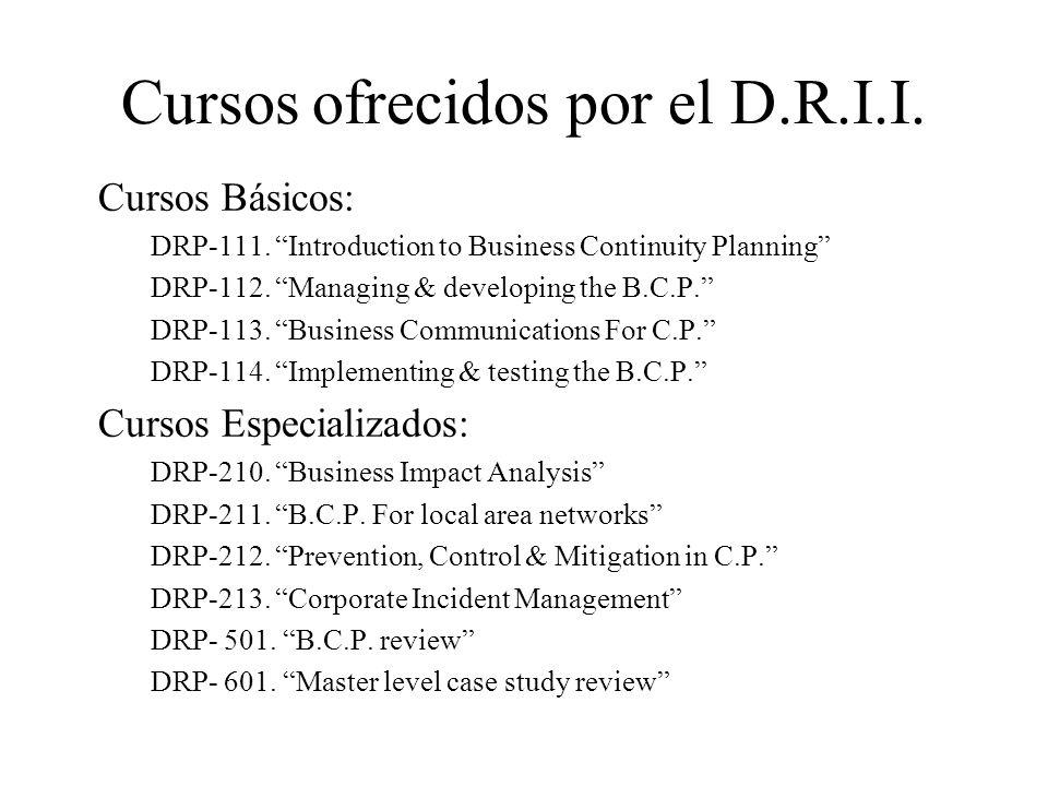 Cursos ofrecidos por el D.R.I.I.