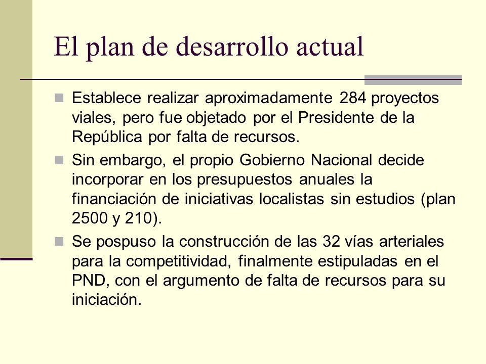 El plan de desarrollo actual