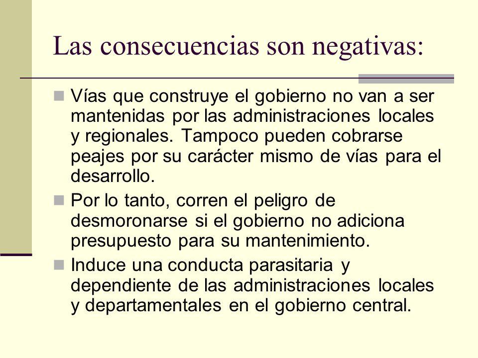 Las consecuencias son negativas: