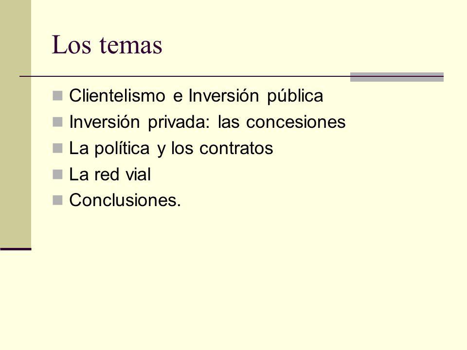 Los temas Clientelismo e Inversión pública