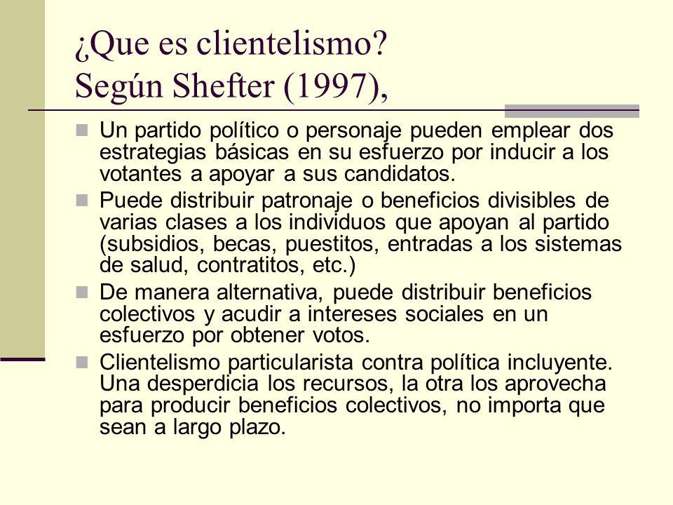¿Que es clientelismo Según Shefter (1997),