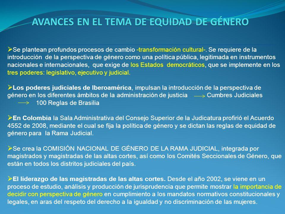 AVANCES EN EL TEMA DE EQUIDAD DE GÉNERO