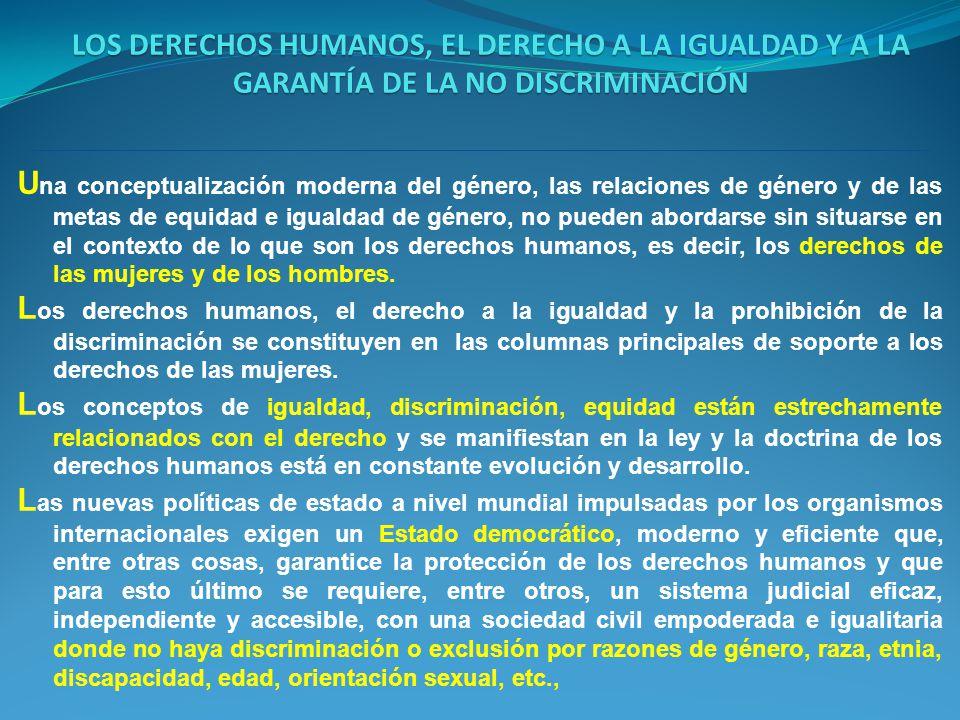 LOS DERECHOS HUMANOS, EL DERECHO A LA IGUALDAD Y A LA GARANTÍA DE LA NO DISCRIMINACIÓN
