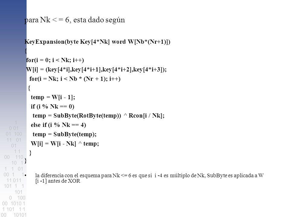 para Nk < = 6, esta dado según