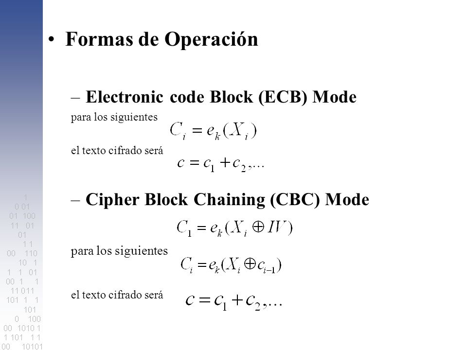 Formas de Operación Electronic code Block (ECB) Mode