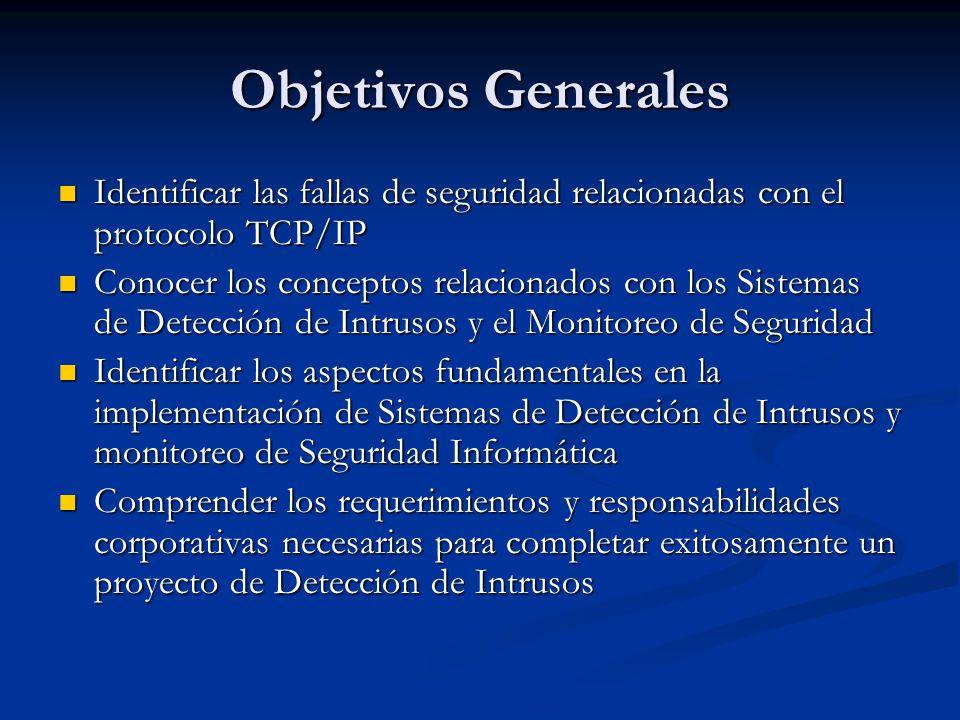 Objetivos Generales Identificar las fallas de seguridad relacionadas con el protocolo TCP/IP.